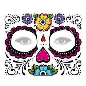 Day of the Dead: Floral Face Temporary Tattoo