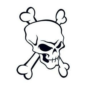 Modern Skull and Crossbones Temporary Tattoo