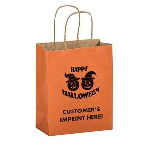"Halloween Stock Design Matte Orange Shopper • Pumpkins - Customized (8""x4 3/4""x10 1/2"") - Flexo Ink"