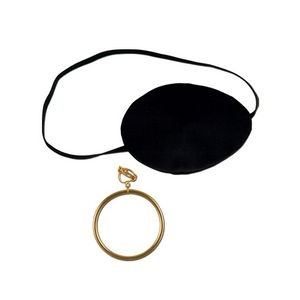 Black Pirate Eye Patch w/ Plastic Gold Earring