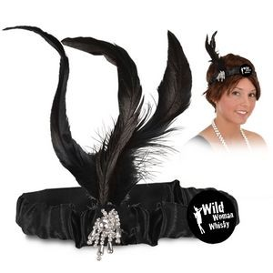 "Flapper Headband w/ Black Feathers & Jewels w/ a Custom Printed 2"" Round Faux Leather Icon"