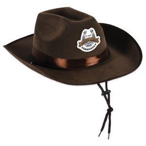 Faux Brown Leather Western Hat w/ a Custom Printed Faux Leather Icon