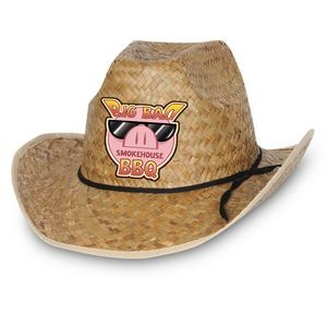 Hi-Crown Western Hat w/ Shoelace Band w/ a Custom Printed Faux Leather Icon