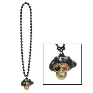 Beads Necklace w/ Flashing Pirate Skull Medallion