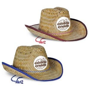 Child Size Cowboy Hat w/ Shoelace Band w/ a Custom Printed Faux Leather Icon