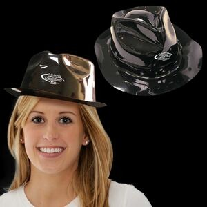 Black Plastic Fedora Gangster Hat