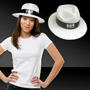 White Plastic Gangster Hats w/ Black Band