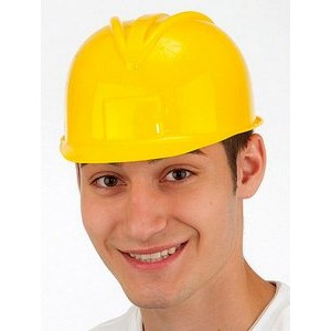 Adjustable Plastic Construction Helmet w/Label