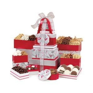 Best of the Season Gourmet Sweets & Treats Tower Red-Silver