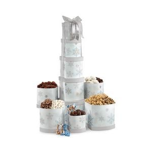Something For Everyone Gourmet Treats Tower - Silver and Blue Snowflake Pattern