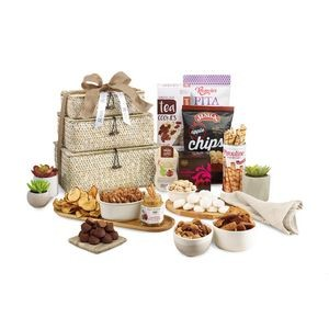 Naturally Delicious Gourmet Basket Tower - Natural Seagrass Pattern
