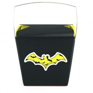 Black Yellow Bat Themed Quart Windowed Chinese Box