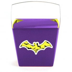 Purple Yellow Bat Themed Quart Windowed Chinese Box