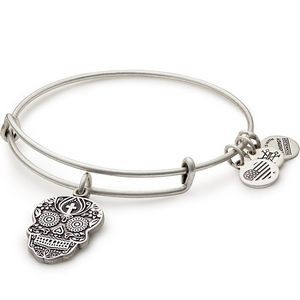 Alex and Ani® Rafaelian Silver Finish Calavera Charm Bangle