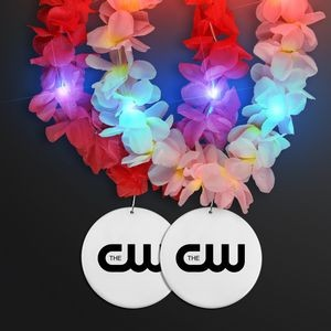 Light Up Hawaiian Leis with Custom White Medallion