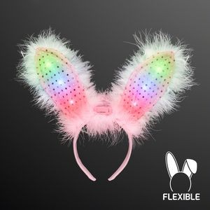 Light Up Pink/White Bunny Ears Headband