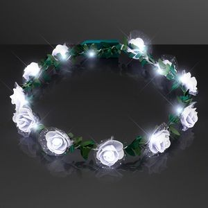 White Rosebud Flower Crown, Steady Cool White LEDs