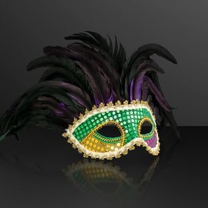 Venetian Face Mask w/Deluxe Feathers (NON-Light Up)
