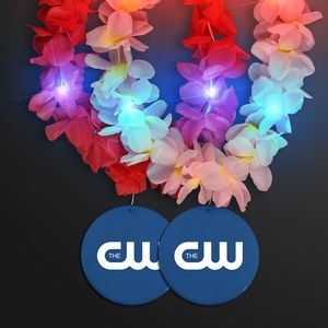Light Up Hawaiian Leis with Custom Blue Medallion