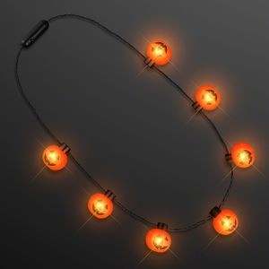 Big Pumpkin Light Bulbs Halloween Necklace