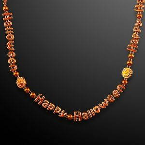 Orange Happy Halloween Bead Necklace