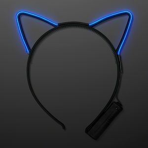 Blue EL Wire Cat Ears Headband