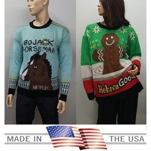Ugly Sweater for the Gifts, Holidays, Company Logo. Made in USA