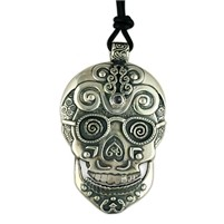 Timothy Silver Skull Pendant Necklace