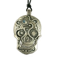 Oberon Silver Skull Pendant Necklace