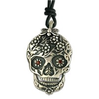 Flora Silver Skull Pendant Necklace