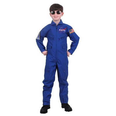 Kids' Blue NASA Flight Coverall w/Insignia Patches