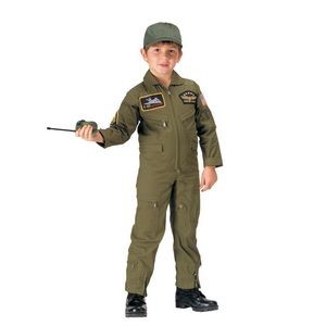Kids' Olive Drab Flight Coverall w /Insignia Patches (XS to XL)