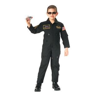 Kids' Black Flight Coverall w/ Insignia Patches (XS to XL)
